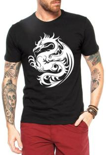 Camiseta Criativa Urbana Dragão Tribal - Masculino-Preto
