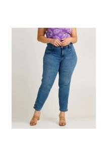 Calça Plus Size Feminina Jeans Cigarrete Botóes