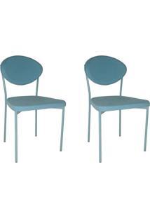 Conjunto Com 2 Cadeiras De Cozinha Bella Sarja Azul