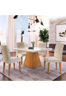 Conjunto De Mesa De Jantar Luna Com 4 Cadeiras Estofadas Grécia Veludo Creme E Imbuia