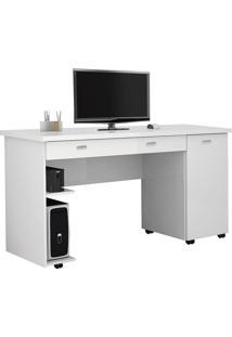 Mesa Para Computador Com 1 Porta E 1 Gaveta Ariel-Móveis Primus - Branco