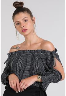 Blusa Feminina Ombro A Ombro Maquinetada Com Laço Manga Longa Preta