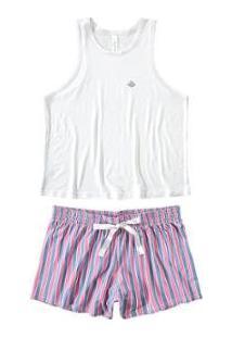 Pijama Curto Com Robe Malwee Liberta Feminino - Feminino-Branco