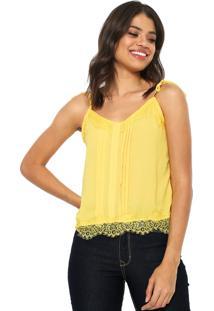 Regata Lily Fashion Detalhe Renda Amarela