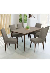 Conjunto De Mesa E 6 Cadeiras D002 - Kappesberg - Walnut / Marrom