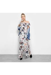 Vestido Heli Longo Open Shoulder Tropical Fenda - Feminino-Branco