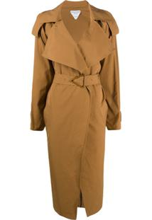 Bottega Veneta Trench Coat Com Fivela Triangular - Marrom