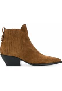 Furla Ankle Boot Lady M De Couro - Marrom
