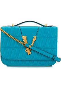 Versace Bolsa Transversal Virtus Matelassê - Azul
