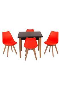 Conjunto Mesa De Jantar Luiza 80Cm Preta Com 4 Cadeiras Leda - Vermelho