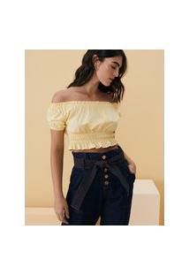 Amaro Feminino Blusa Cropped Com Mangas Bufantes E Elásticos Na Cintura, Amarelo