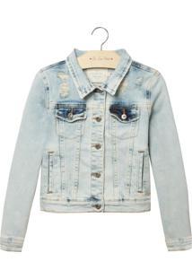 Jaqueta Le Lis Blanc Petit Melissa Jeans Azul Feminina (Jeans Delave, 10)