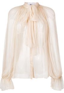 Atu Body Couture Blusa Translúcida Com Amarração No Gola - Neutro