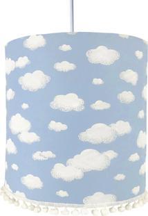 Lustre Tubular Pompom Nuvem Azul Quarto Bebê Infantil Menino - Kanui