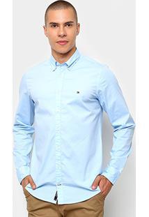Camisa Manga Longa Tommy Hilfiger Masculina - Masculino-Azul Claro