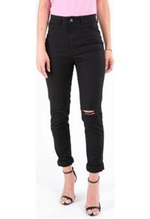 Calça Jeans Skinny 5 Bolsos Com Rasgo Feminina - Feminino