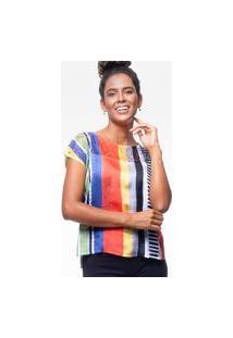 Blusa Tunica 101 Resort Wear Estampada Listras Coloridas