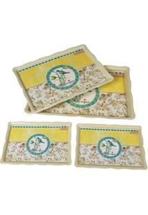 Bandeja Retangular Decorativa Btc Em Plástico Com 4 Peças - Bege/Amarelo/Verde