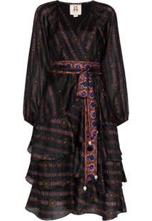 Figue Vestido Kira Decote Em V De Seda Com Estampa - Preto