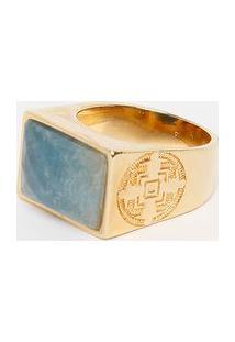 Anel Verano- Dourado & Azul- 5,8X1,2Cmfabrizio Gianonne