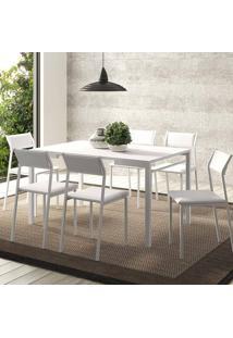 Mesa 1526 Branca Com 6 Cadeiras 1709 Color Uv Branco Carraro