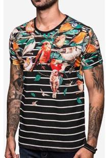 Camiseta Hermoso Compadre Listrada Birds - Masculino-Preto