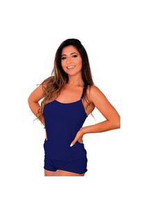 Baby Doll Conforto Short E Camiseta Linha Noite Lingerie Azul Escuro