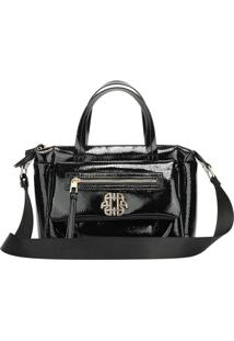 Bolsa Handbag Ana Hickmann Feminina Verniz Dia A Dia Moderna Preto
