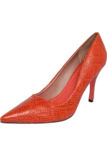 Scarpin My Shoes Textura Laranja