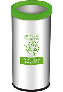 Lixeira Seletiva Recicláveis 40,5L Em Aço Inox Verde Decorline - Brinox