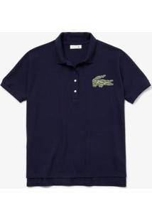 Camisa Polo Lacoste Regular Fit Feminina - Feminino-Azul
