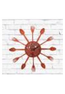 Relógio De Parede Cozinha Decorativo Talheres Laranja 15X15