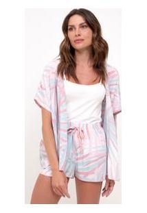 Pijama De Alcinha E Kimono Com Estampa Folhagem