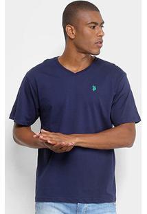 Camiseta U.S. Polo Assn Gola V Masculina - Masculino-Marinho