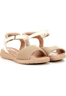 Sandália Comfortflex Velcro Feminina - Feminino-Off White