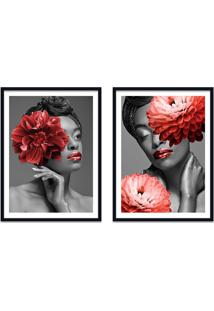 Quadro 67X100Cm Idália Mulher Com Flores Vermelha Nórdico Moldura Preta Sem Vidro