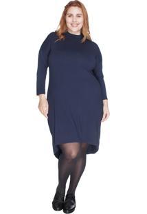 Vestido Mullet Com Gola Alta Bold Plus Size Azul Marinho