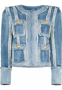 Balmain Jaqueta Jeans Com Patch - Azul
