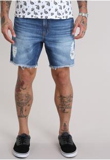 Bermuda Jeans Reta Destroyed Com Cordão Azul Médio