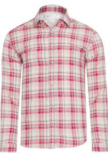 Camisa Masculina Xadrez Linho - Vermelho