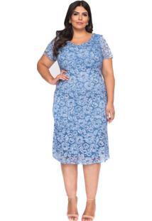 Vestido Almaria Plus Size Pianeta Renda Azul