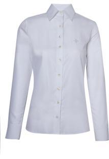 Camisa Dudalina Manga Longa Viés Feminina (Branco, 46)