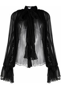 Atu Body Couture Blusa De Seda Com Pregas E Laço Na Gola - Preto
