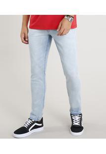 Calça Jeans Masculina Slim Com Cadarço Azul Claro