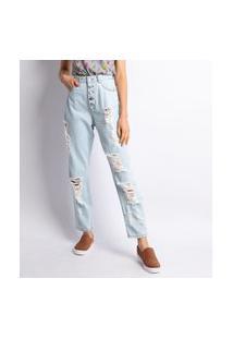 Calça Jeans Mom Puído Lavagem Clara Estonada Jeans