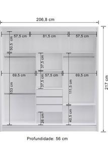 Guarda-Roupa 3 Portas Decibal Rp4330 Com Espelho Branco Se