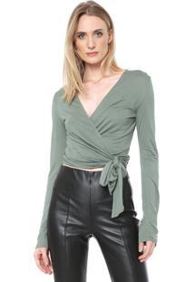 Blusa Cropped Lança Perfume Transpassada Verde