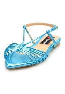 Sandalia Love Shoes Salomé Rasteira Bico Folha Tirinhas Metalizadas Azul