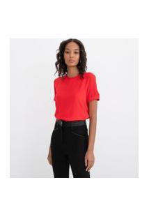 Blusa Lisa Com Abertura Nas Costas E Botão | Cortelle | Vermelho | Pp