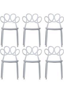 Kit 06 Cadeiras Decorativas Para Cozinha Laço Branco - Gran Belo - Tricae